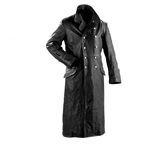Dlouhý důstojnický kožený kabát - černý