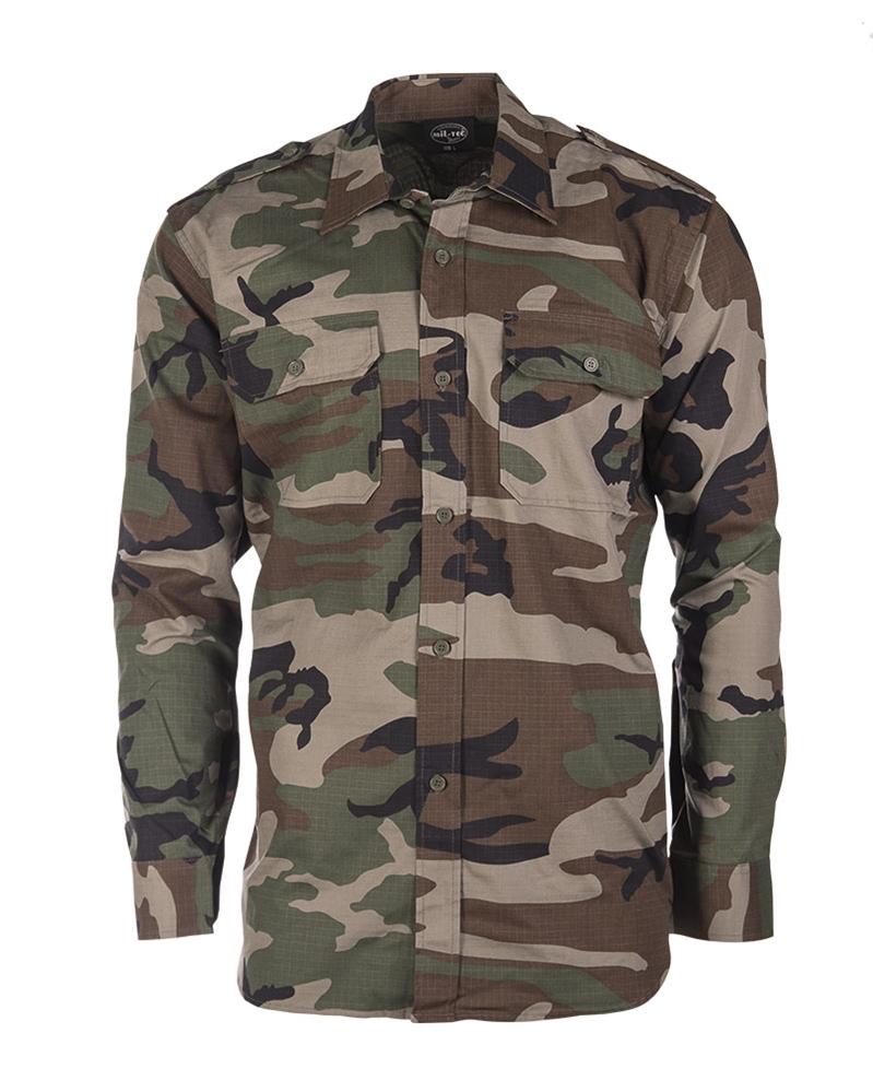 Košile Ripstop dlouhý rukáv - woodland