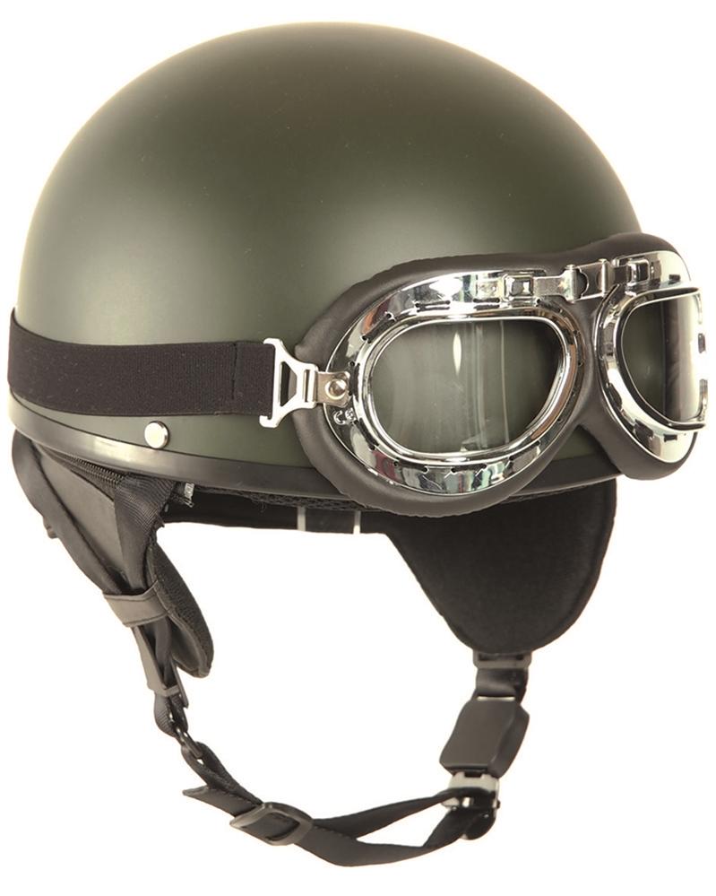 Helma Mil-Tec Moto Retro - olivová
