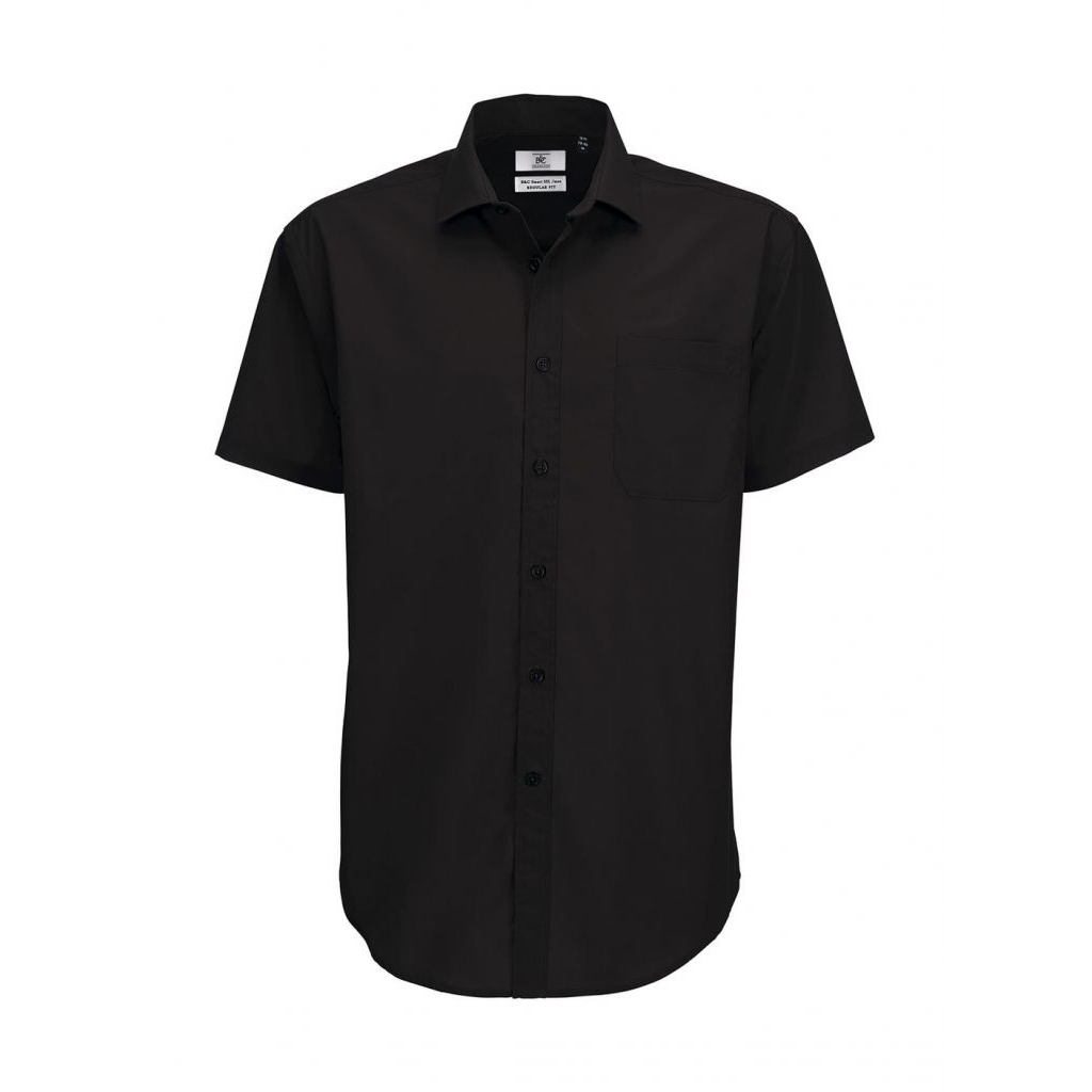 Košile pánská B&C Smart s krátkým rukávem - černá