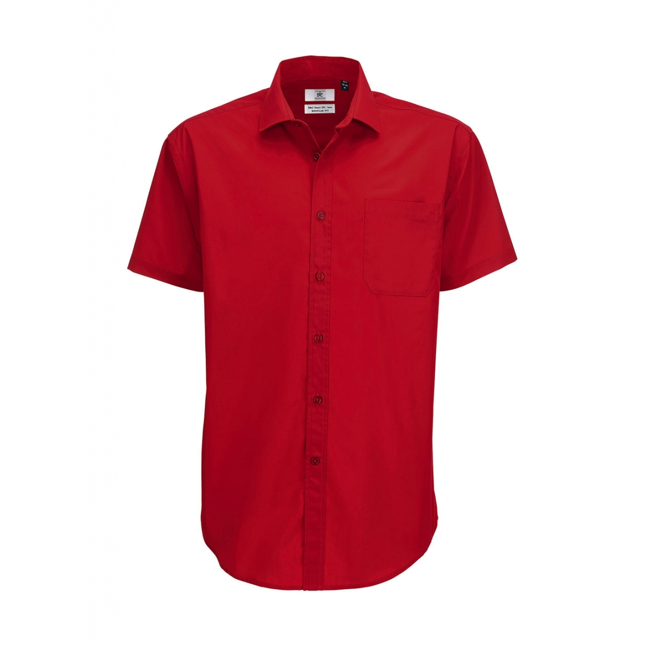 Košile pánská B&C Smart s krátkým rukávem - červená
