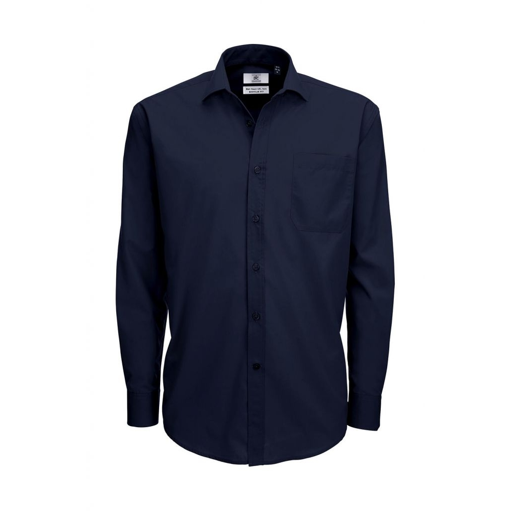 Košile pánská B&C Smart s dlouhým rukávem - navy