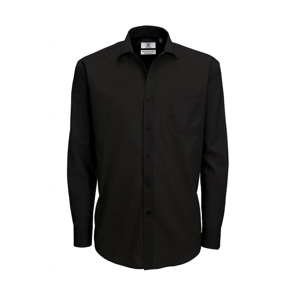 Košile pánská B&C Smart s dlouhým rukávem - černá