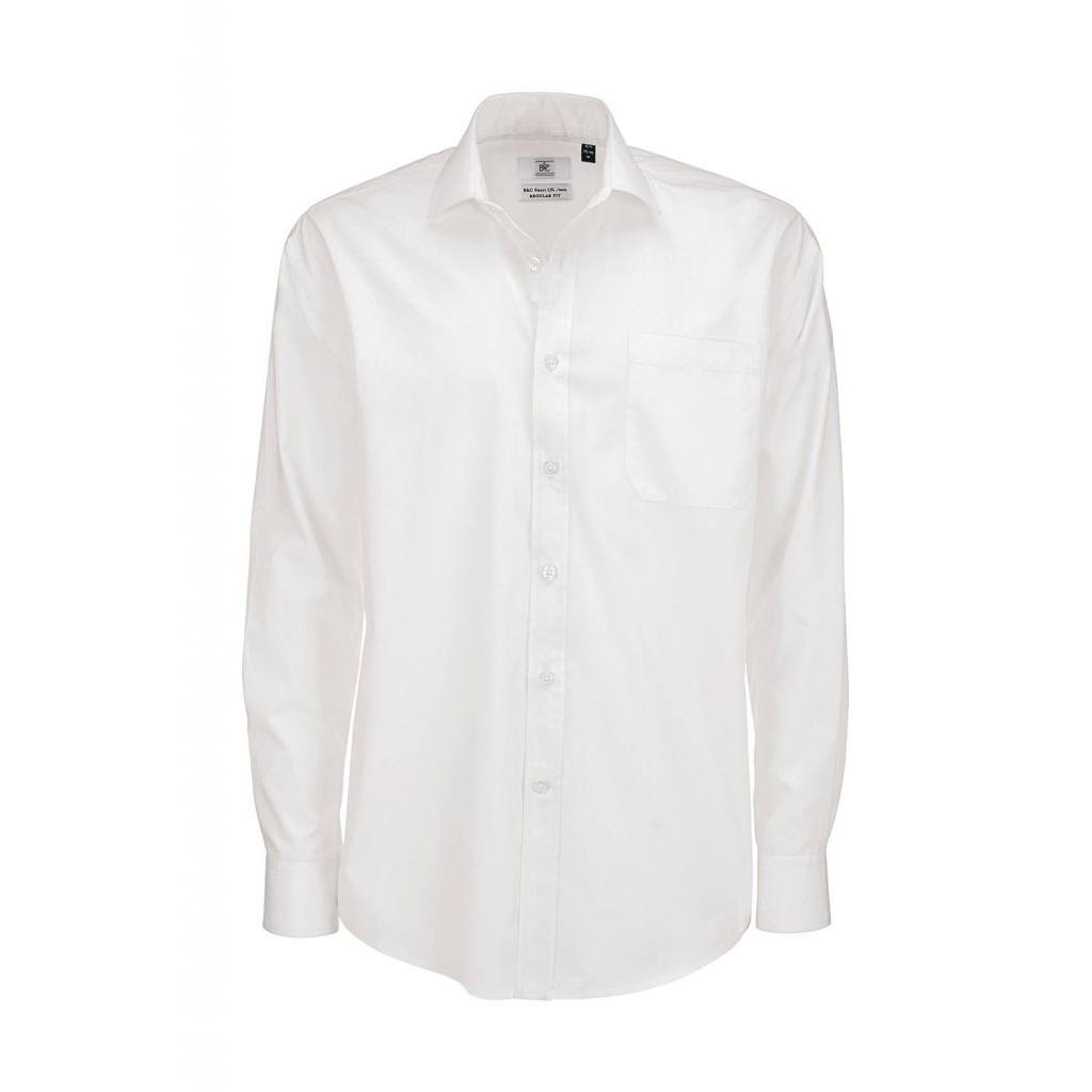 Košile pánská B&C Smart s dlouhým rukávem - bílá