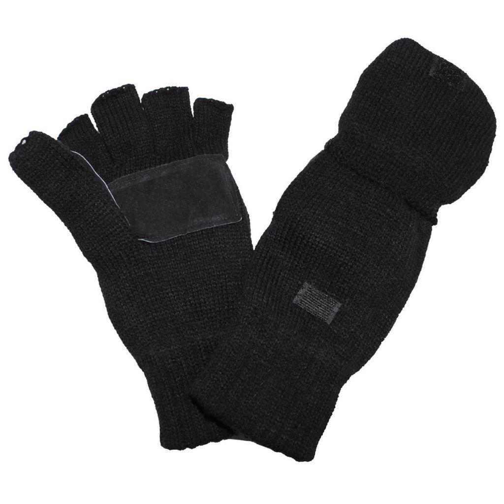 Pletené rukavice bez prstů s podšívkou MFH Strick - černé b525d9c9bf