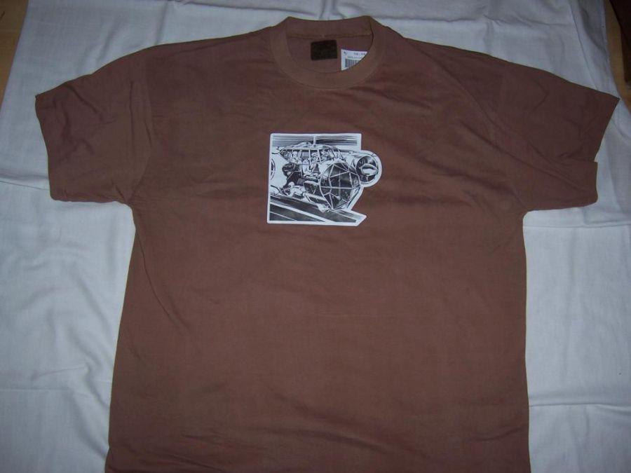 Vojenské tričko Kabina letadla - hnědé