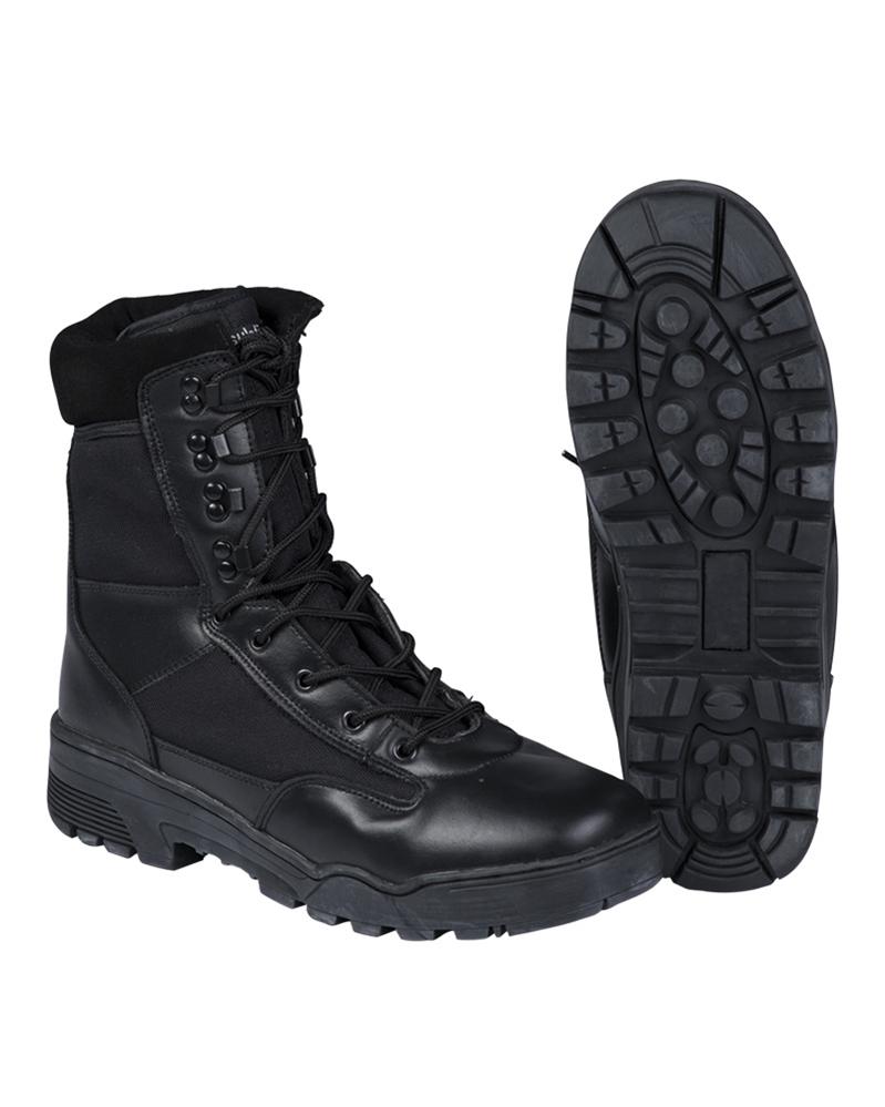 Taktické boty kožené Cordura - černé