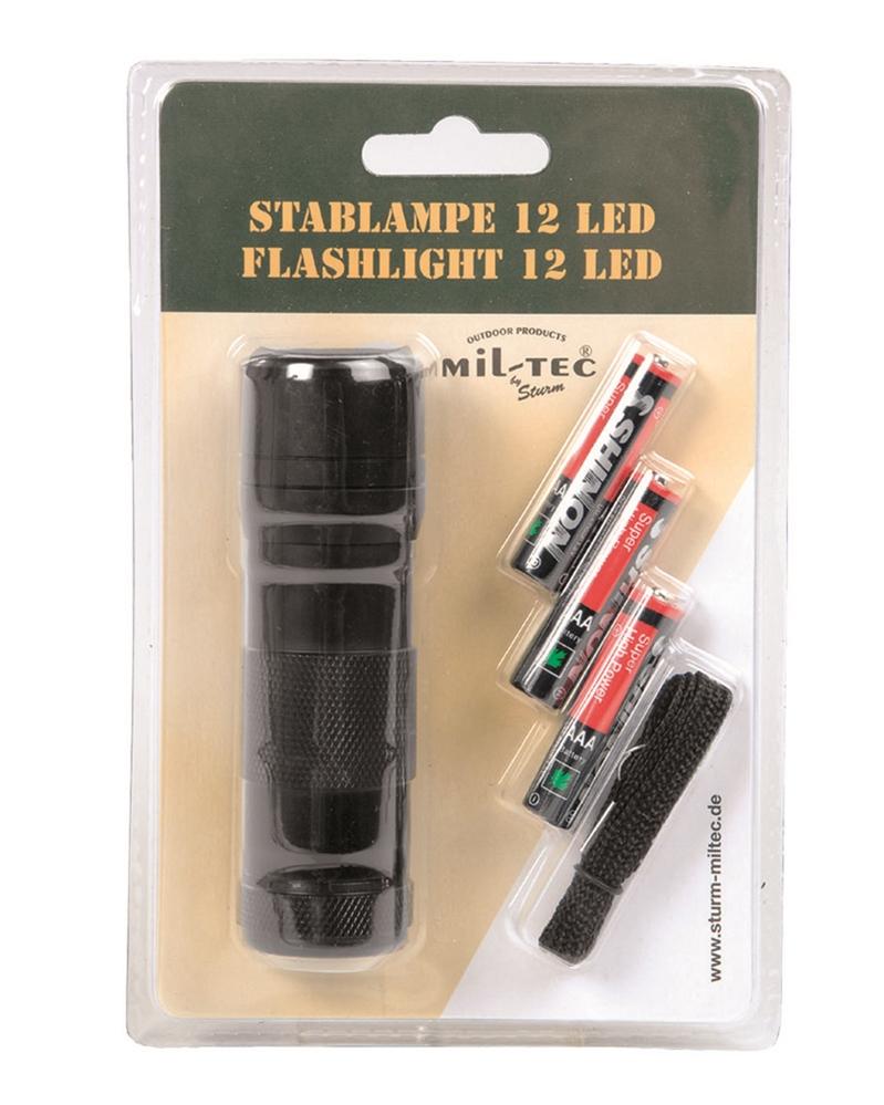 LED 12 svítilna - černá