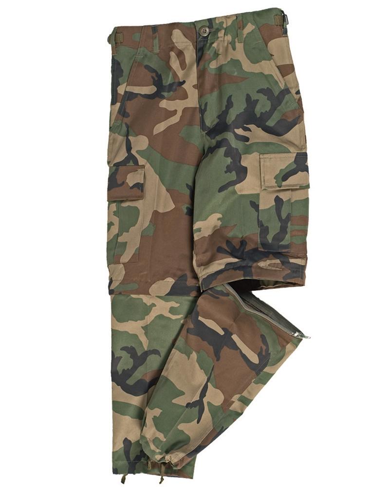 Kalhoty dětské US BDU ZIP-OFF - woodland