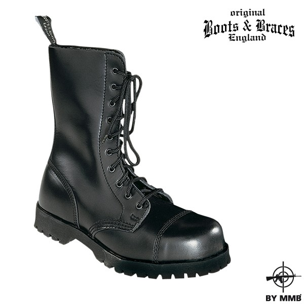 Těžké kožené boty Boots and Braces 10 - černé