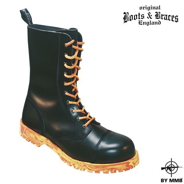 Těžké kožené boty 10 Fire - černé