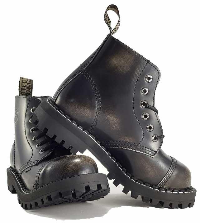 Topánky Steel 6-dierkové - biele stierané - Steel obuv 82cb006d2d