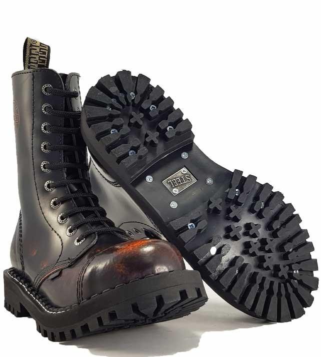 Topánky Steel 10-dierkové - oranžové stierané - Army a outdoor ... 0d90a5585ea