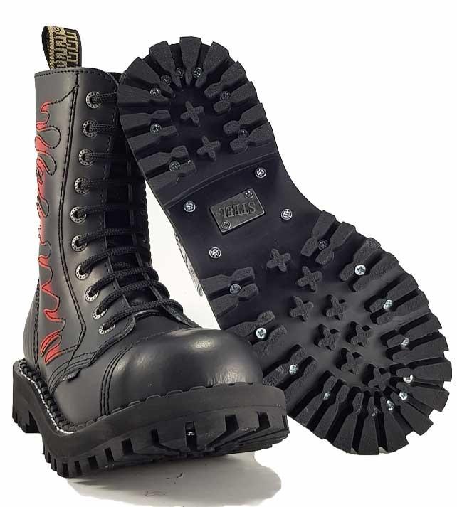 Topánky Steel 10-dierkové Flames - čierne - Steel obuv c6c98e4f7a