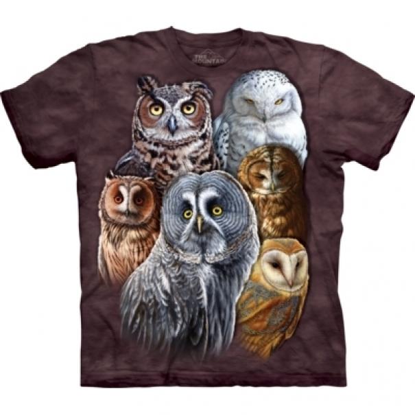 Tričko unisex The Mountain Owls - hnědé
