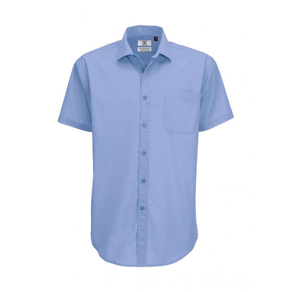 Košile pánská B&C Smart s krátkým rukávem - modrá