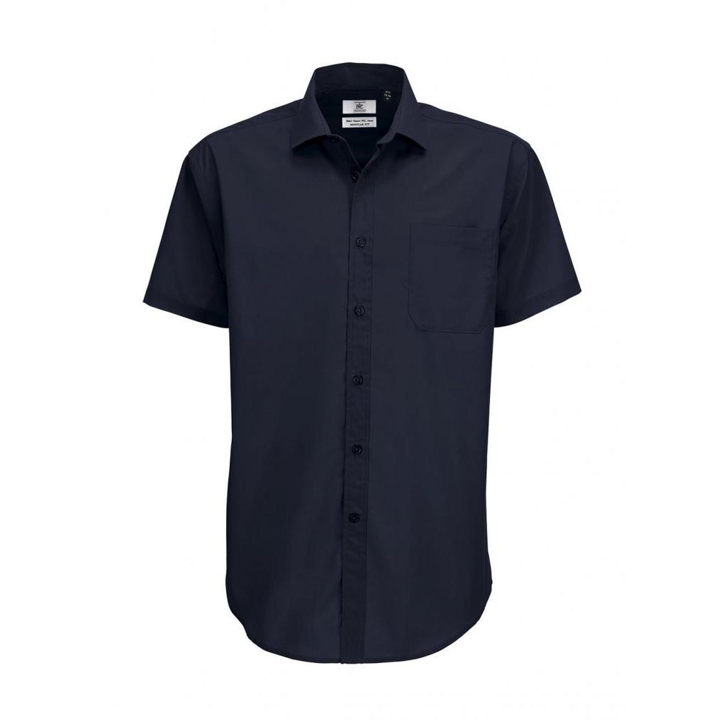 Košile pánská B&C Smart s krátkým rukávem - navy