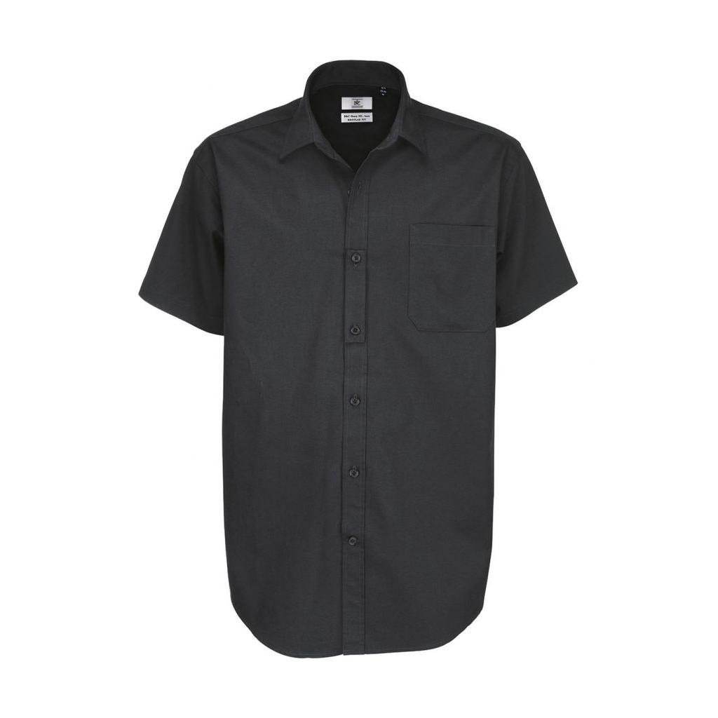 Košile pánská B&C Sharp Twill s krátkým rukávem - šedá