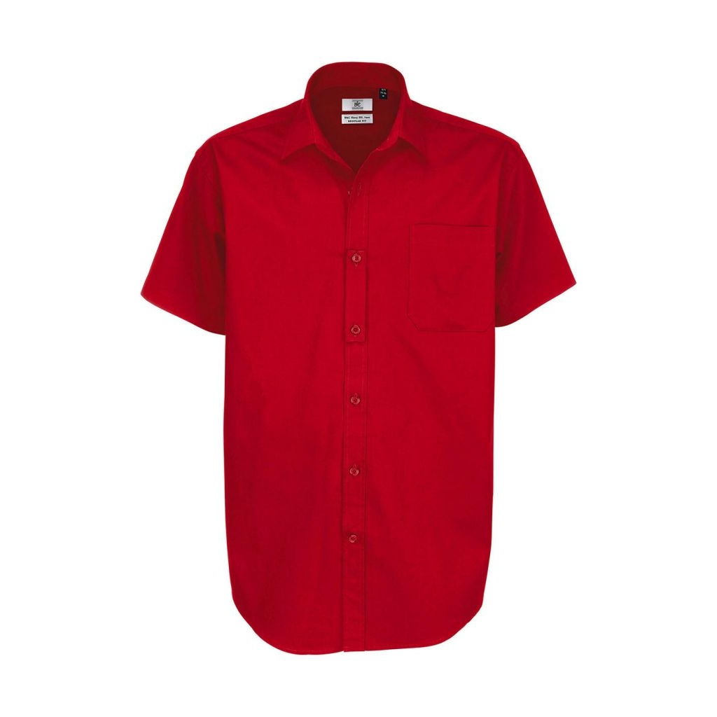 Košile pánská B&C Sharp Twill s krátkým rukávem - červená