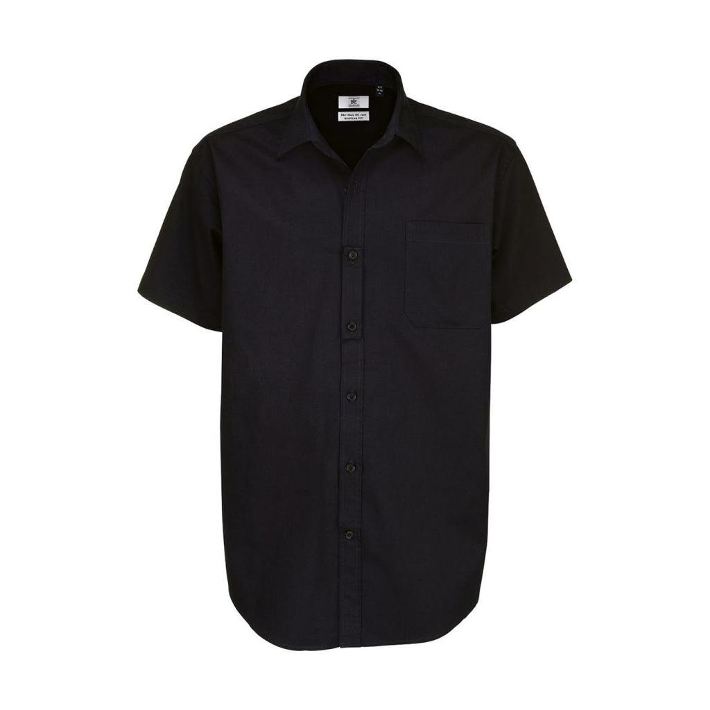 Košile pánská B&C Sharp Twill s krátkým rukávem - černá