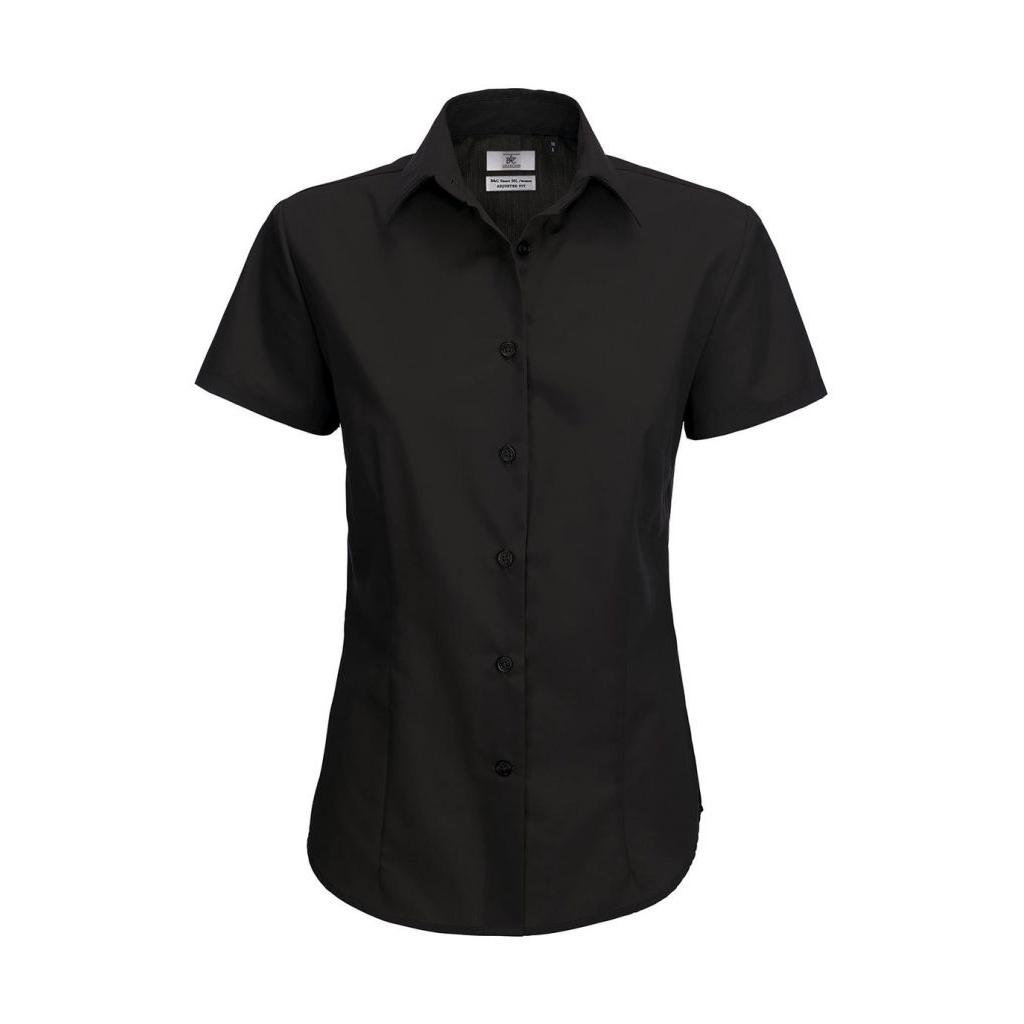 Košile dámská B&C Smart s krátkým rukávem - černá