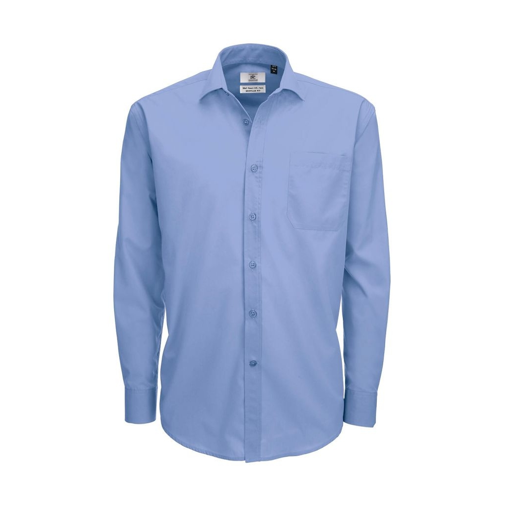 Košile pánská B&C Smart s dlouhým rukávem - modrá