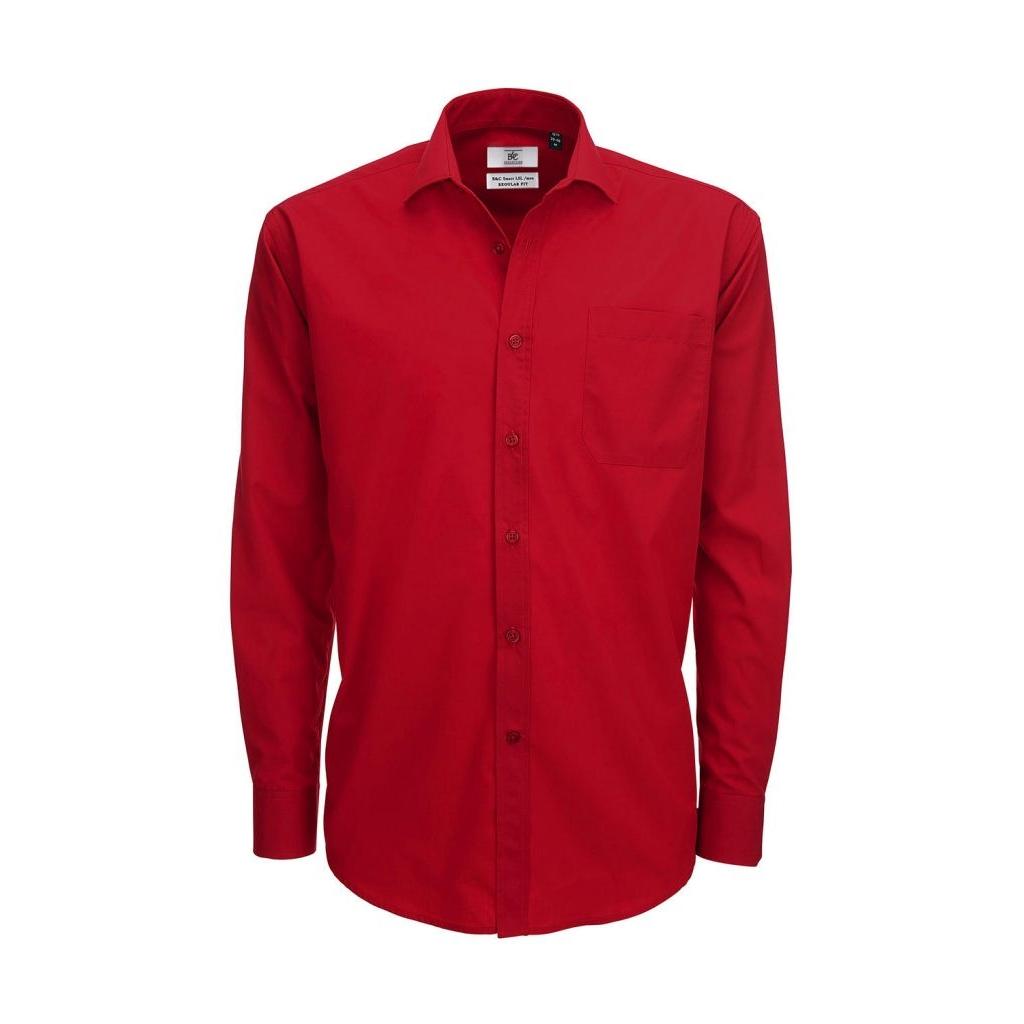 Košile pánská B&C Smart s dlouhým rukávem - červená