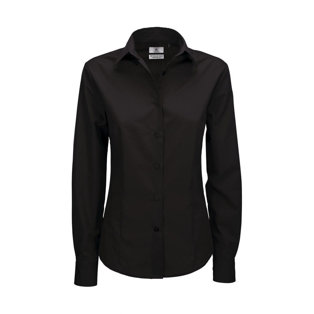 Košile dámská B&C Smart s dlouhým rukávem - černá