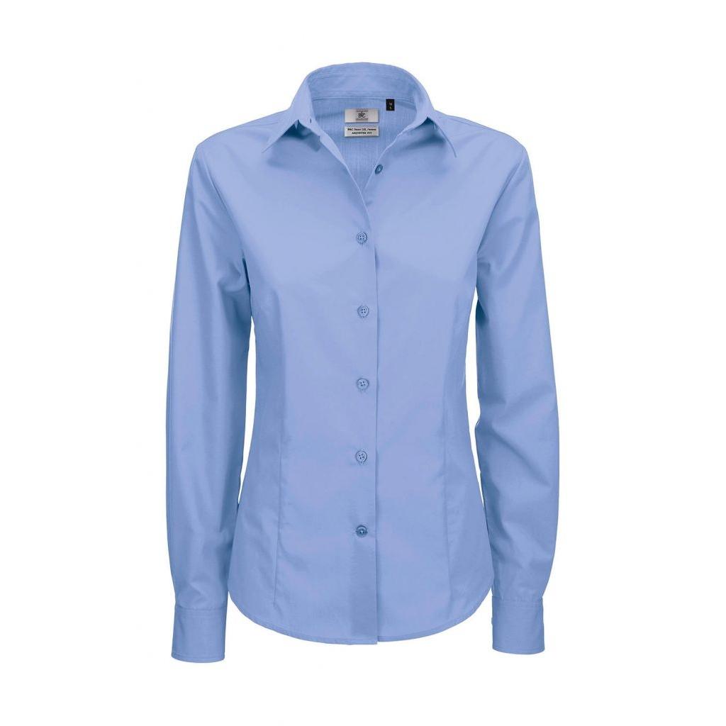 Košile dámská B&C Smart s dlouhým rukávem - modrá