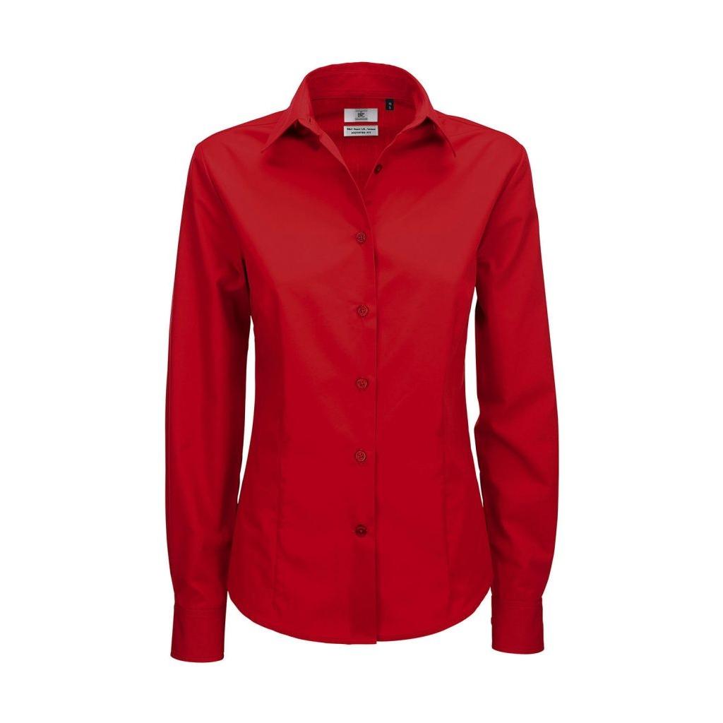 Košile dámská B&C Smart s dlouhým rukávem - červená