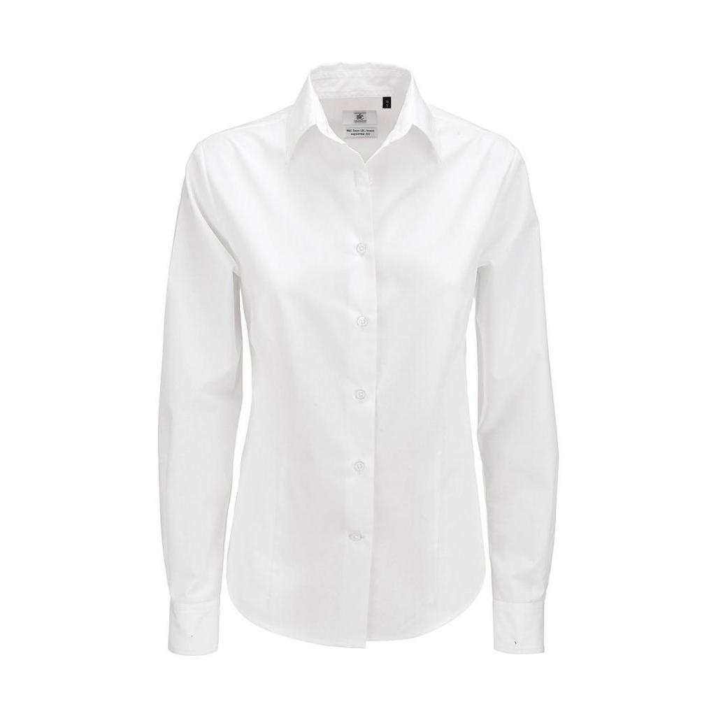 Košile dámská B&C Smart s dlouhým rukávem - bílá
