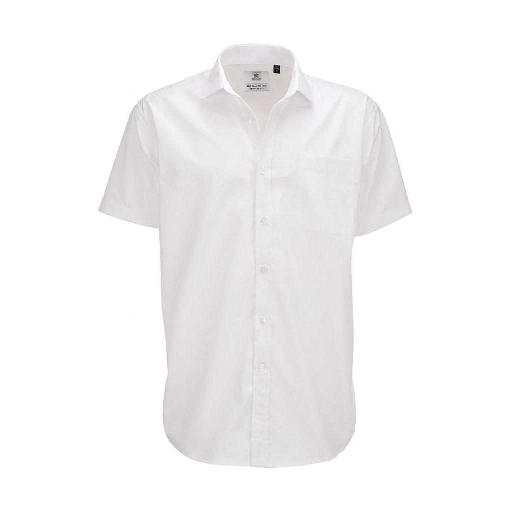 Košile pánská B&C Smart s krátkým rukávem - bílá