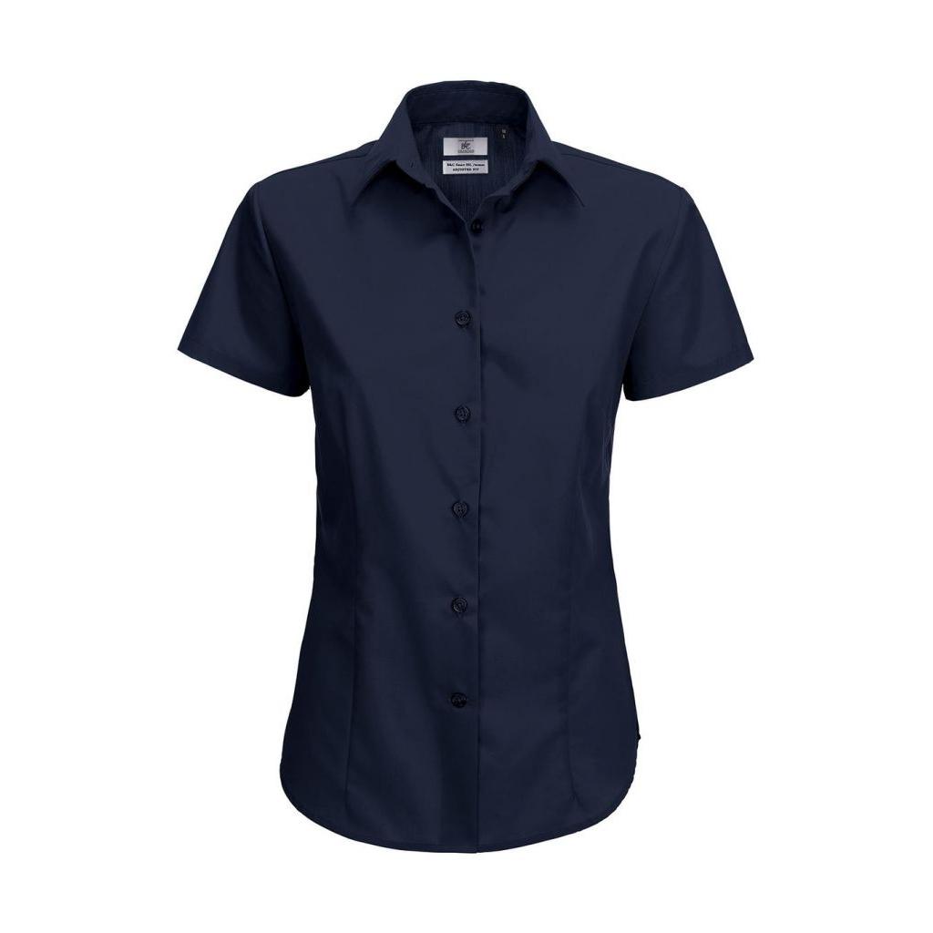 Košile dámská B&C Smart s krátkým rukávem - navy