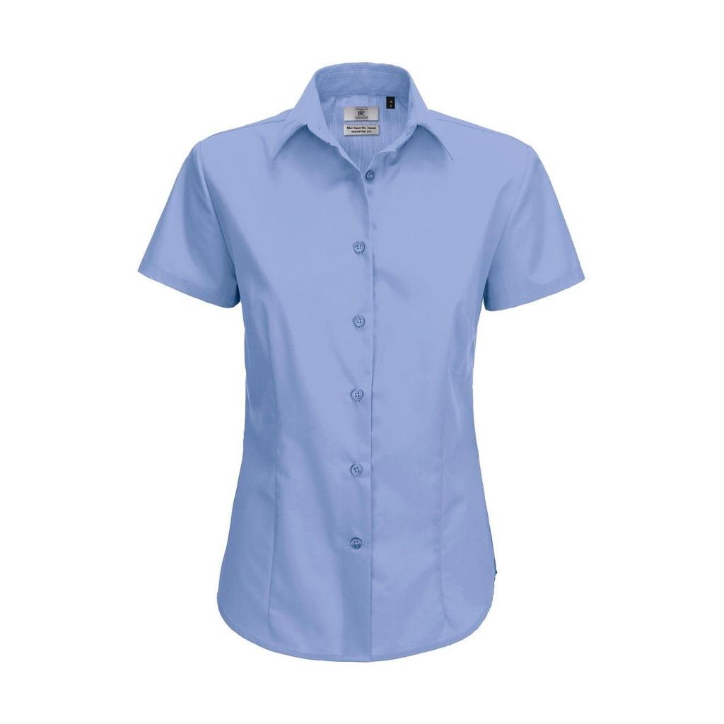 Košile dámská B&C Smart s krátkým rukávem - modrá