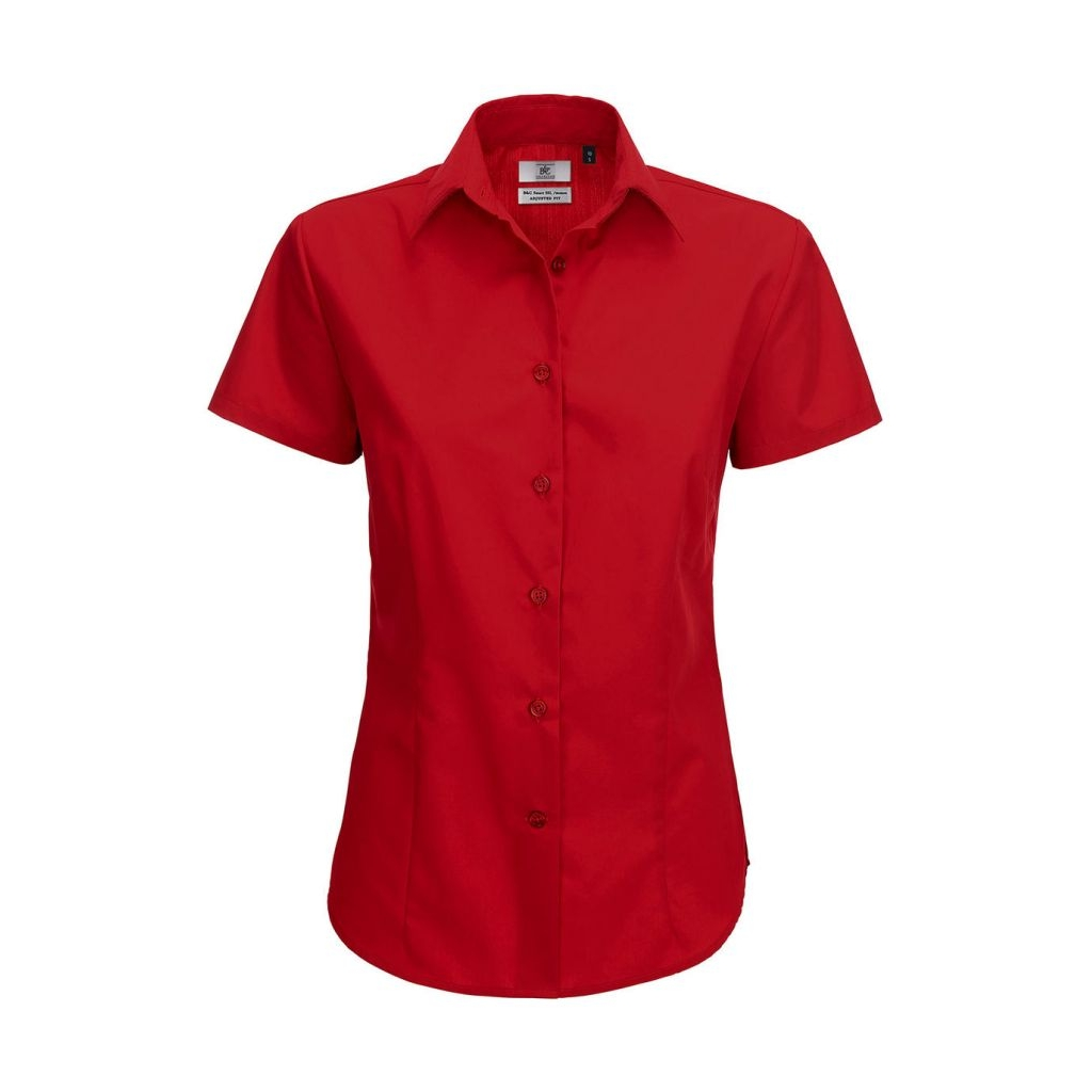 Košile dámská B&C Smart s krátkým rukávem - červená