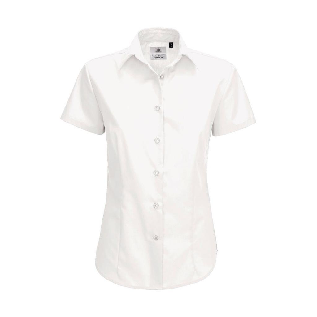 Košile dámská B&C Smart s krátkým rukávem - bílá