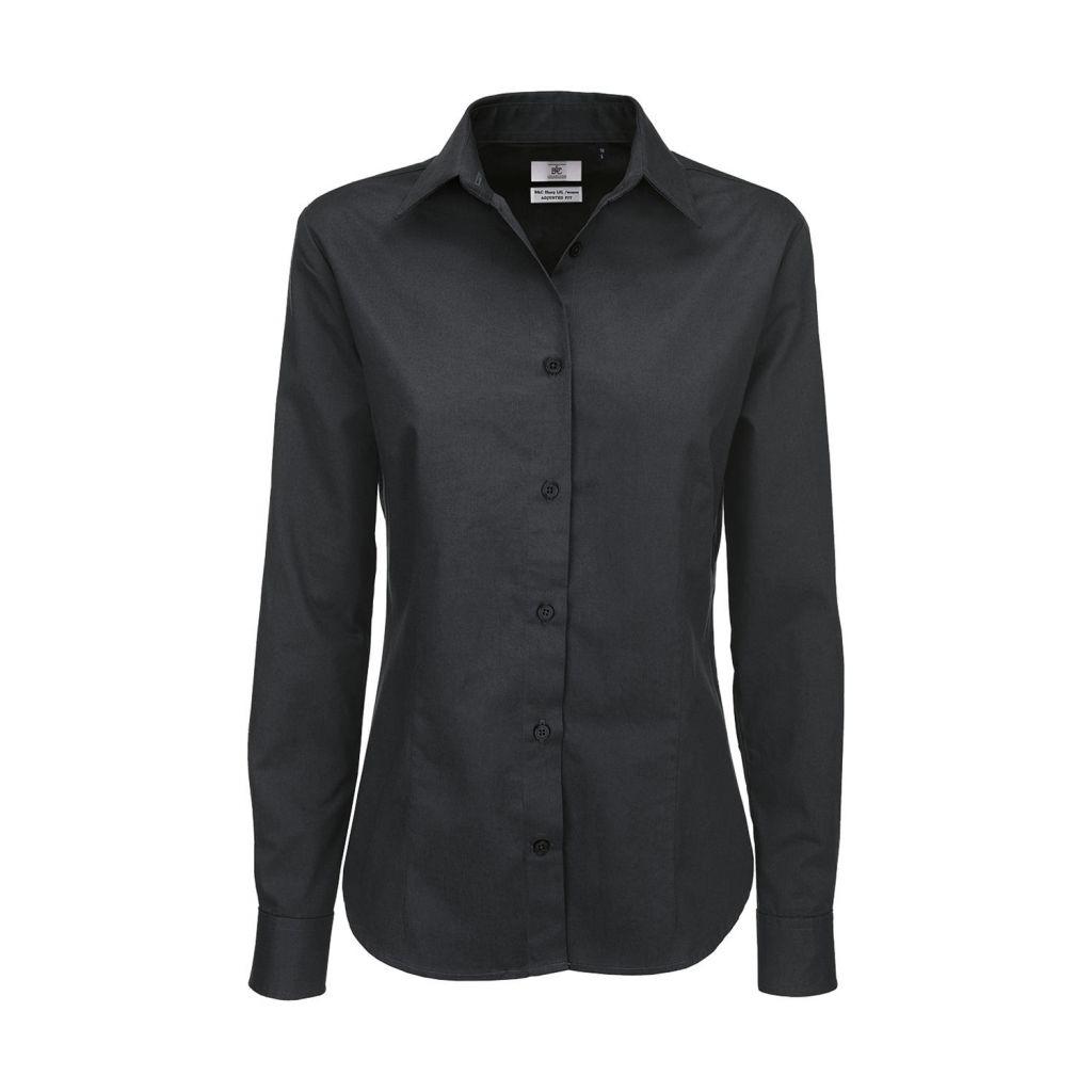 Košile dámská B&C Sharp Twill s dlouhým rukávem - šedá