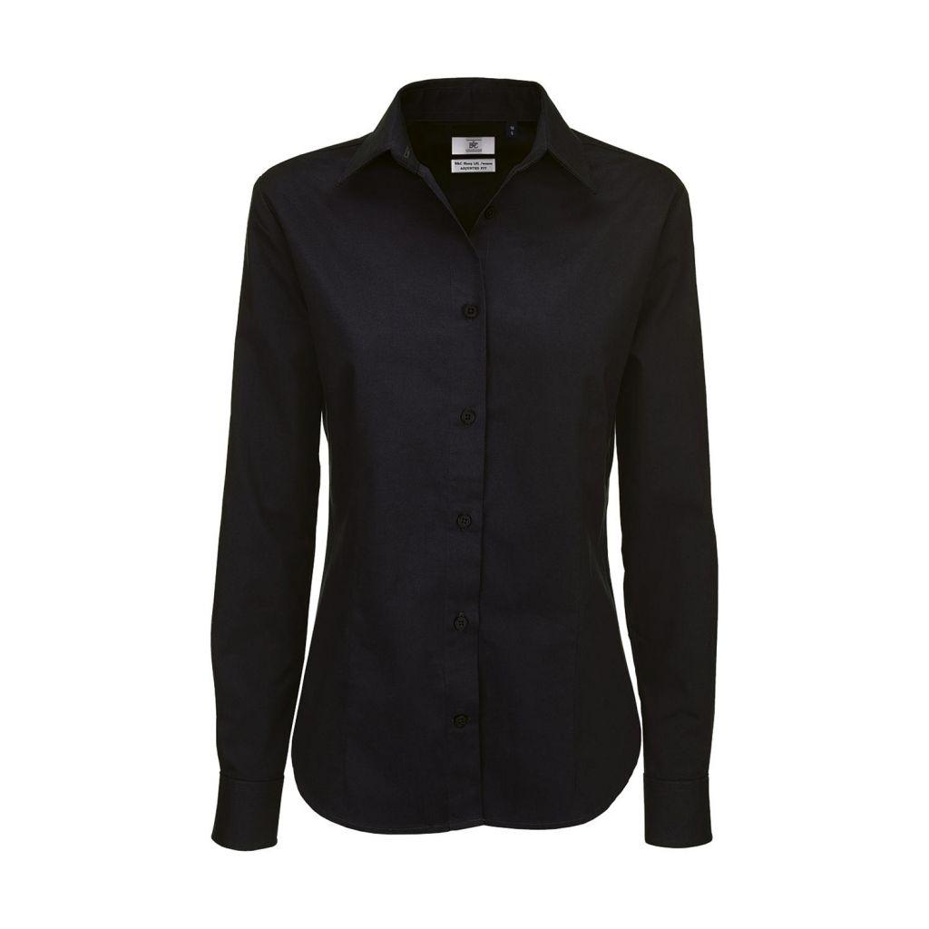 Košile dámská B&C Sharp Twill s dlouhým rukávem - černá