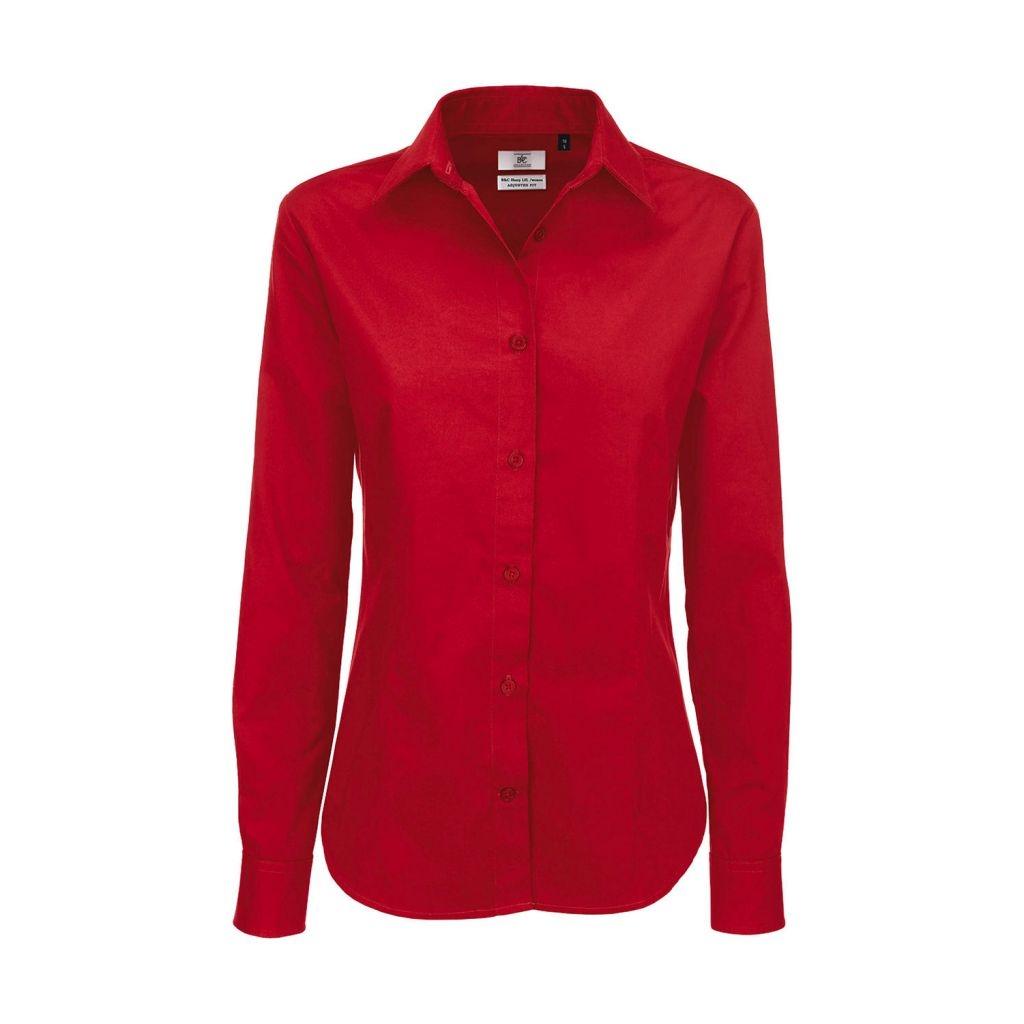 Košile dámská B&C Sharp Twill s dlouhým rukávem - červená