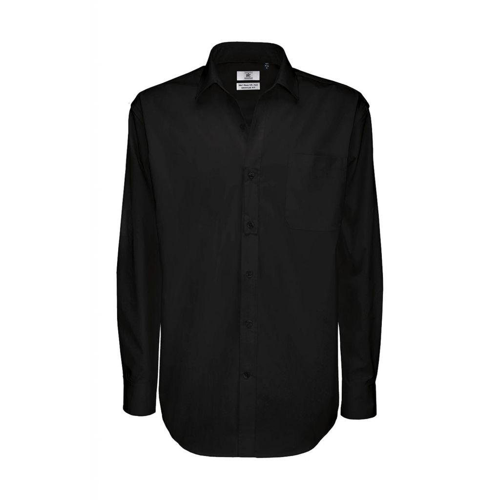 Košile pánská B&C Sharp Twill s dlouhým rukávem - černá