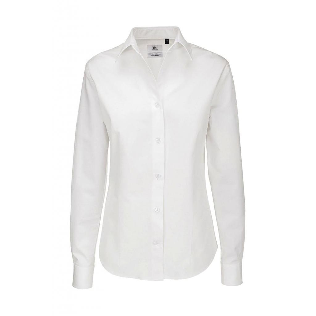 Košile dámská B&C Sharp Twill s dlouhým rukávem - bílá