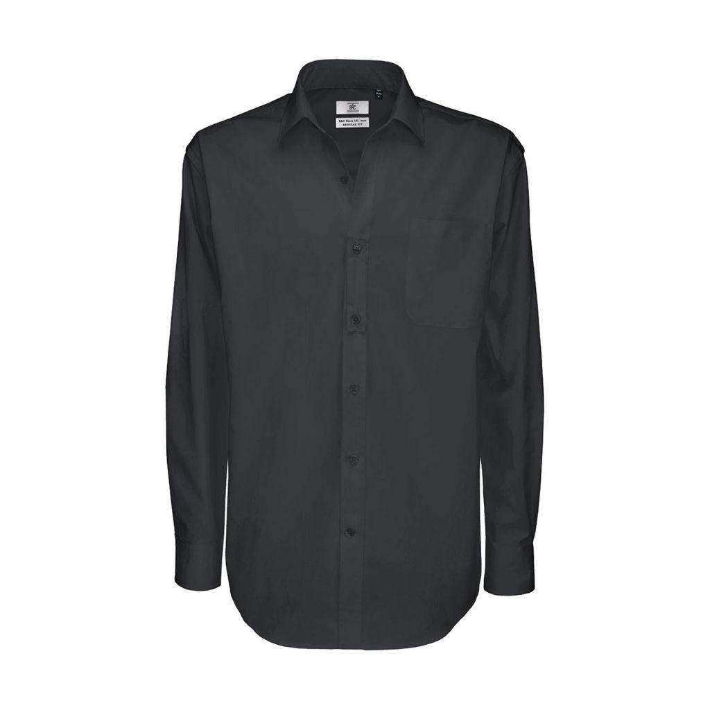 Košile pánská B&C Sharp Twill s dlouhým rukávem - šedá