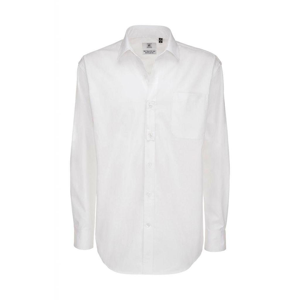 Košile pánská B&C Sharp Twill s dlouhým rukávem - bílá