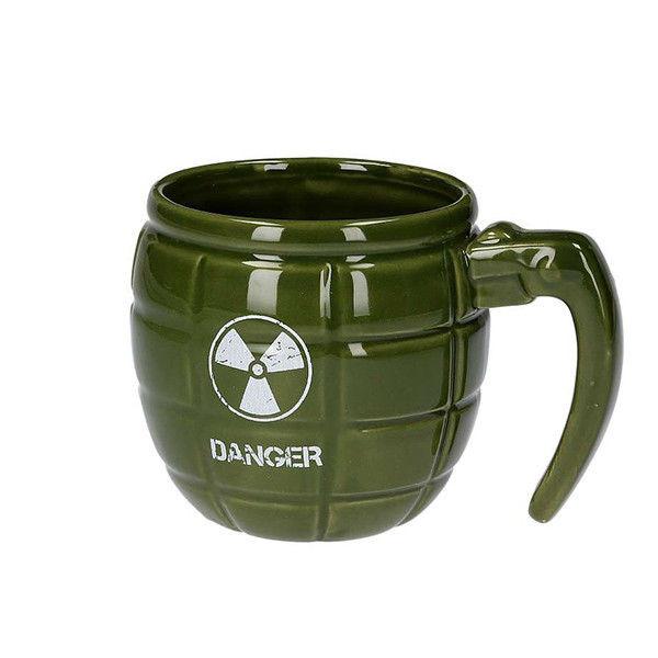 Hrnek ve tvaru granátu Danger - zelený