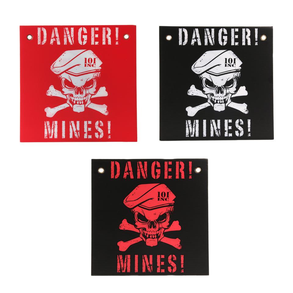 Cedule papírová Danger! Mines! - černá-červená