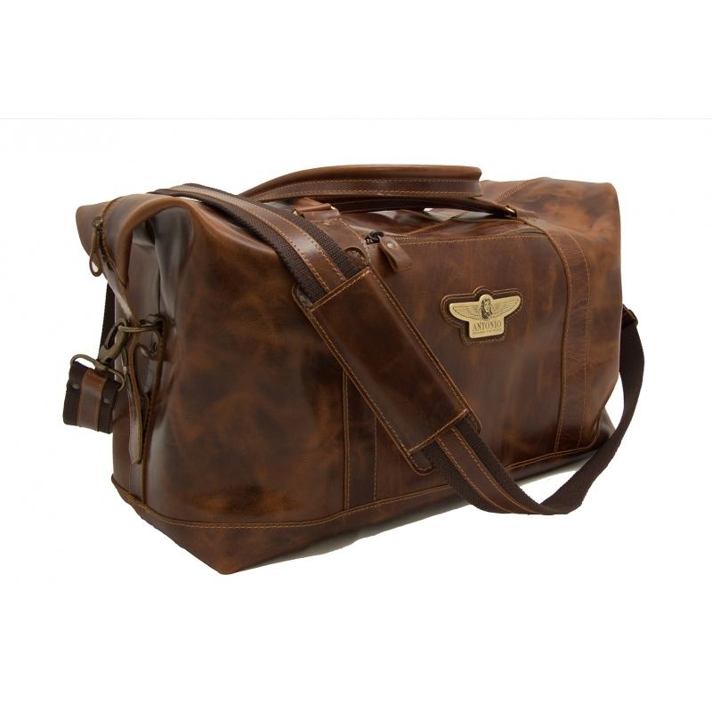 Kožená cestovní palubní taška Antonio Royal Class - hnědá