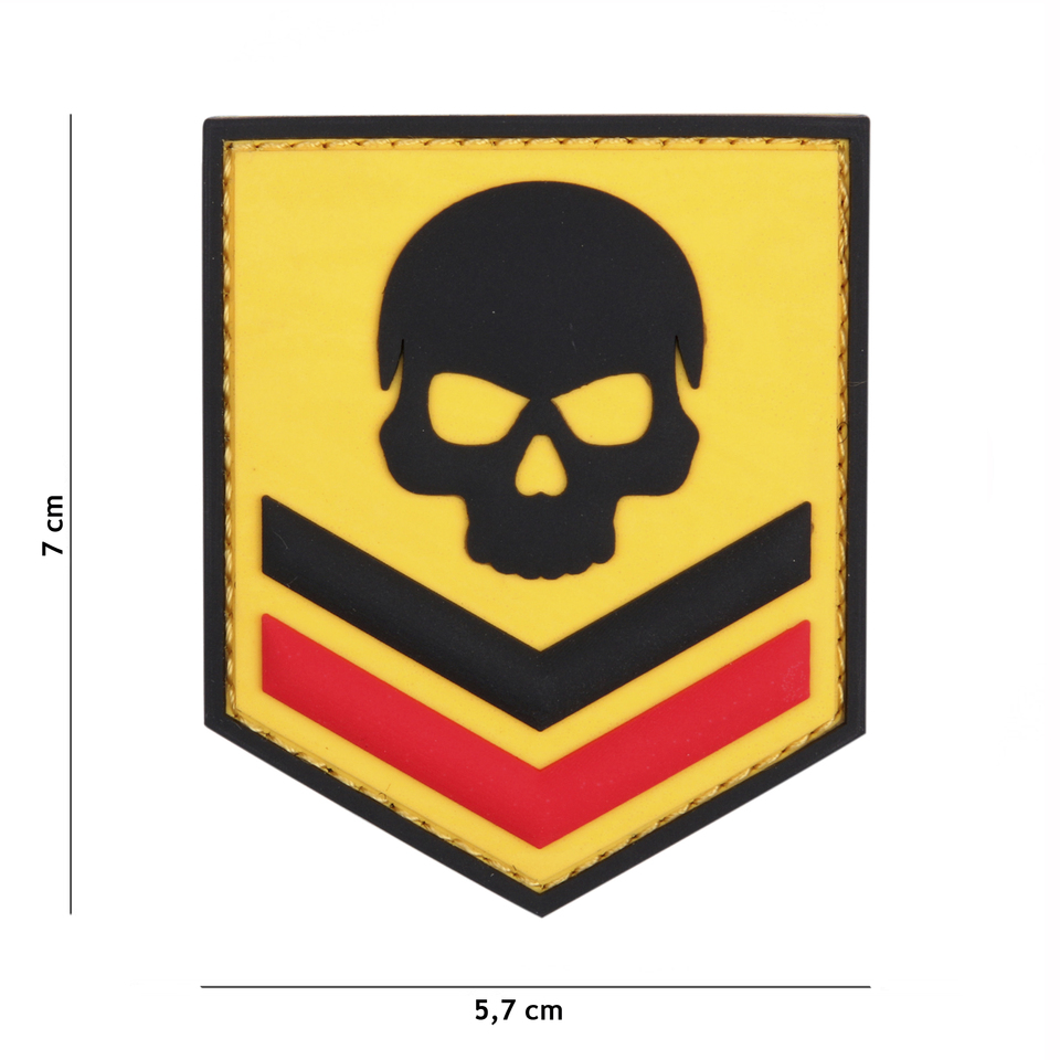 Gumová nášivka 101 Inc Belgium Skull - žlutá