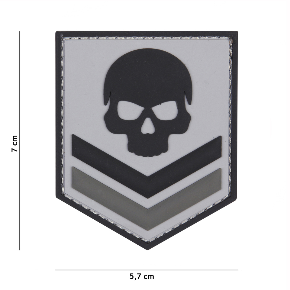 Gumová nášivka 101 Inc Belgium Skull - šedá
