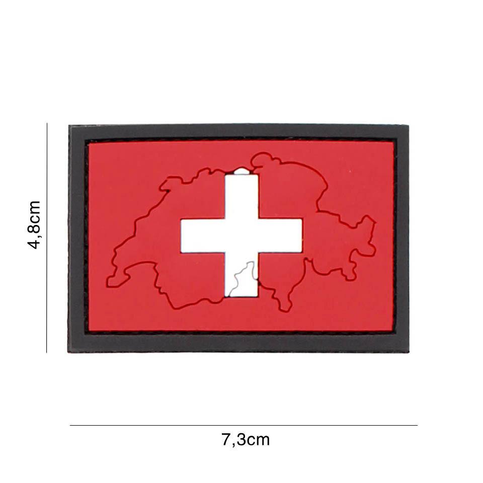 Gumová nášivka 101 Inc vlajka Švýcarsko s obrysem