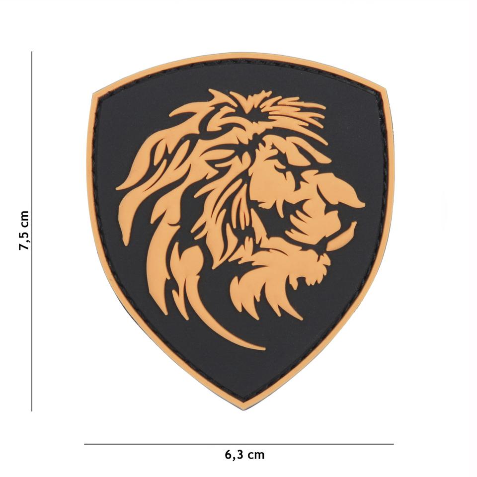 Gumová nášivka 101 Inc znak Dutch Lion - černá